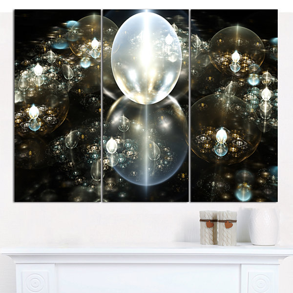 Designart Golden Water Drops On Mirror Abstract Canvas Art Print - 3 Panels