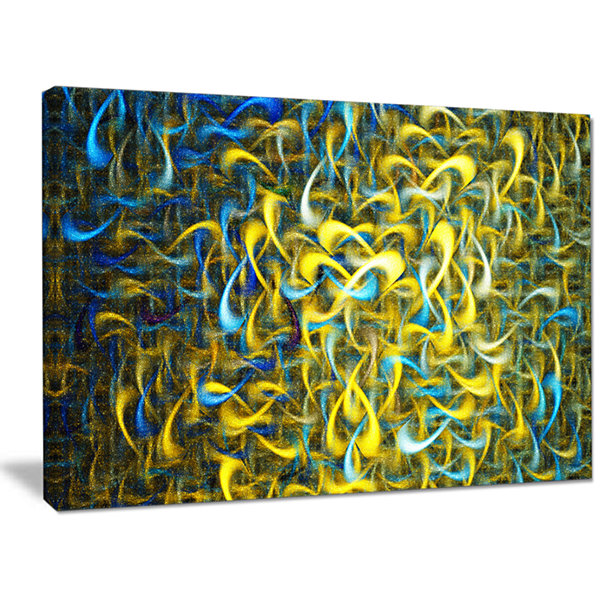 Designart Golden Watercolor Fractal Pattern Abstract Art On Canvas