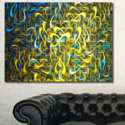 Designart Golden Watercolor Fractal Pattern Abstract Art On Canvas - 3 Panels