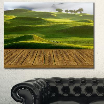 Designart Golf Course With Wooden Path Landscape Canvas Art Print - 3 Panels