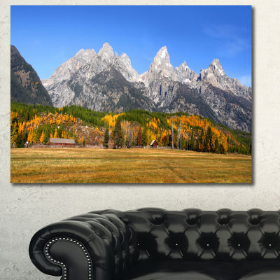 Designart Grand Tetons Panorama Landscape Canvas Art Print