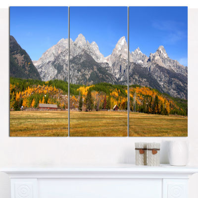 Designart Grand Tetons Panorama Landscape Canvas Art Print - 3 Panels