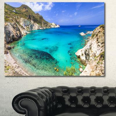 Designart Greece Beaches Of Milos Island LandscapeCanvas Art Print - 3 Panels