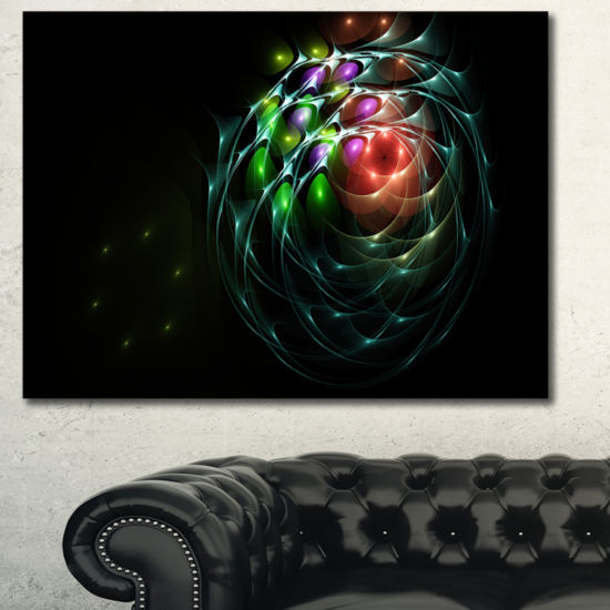 Designart Green 3D Surreal Fractal Design AbstractArt On Canvas