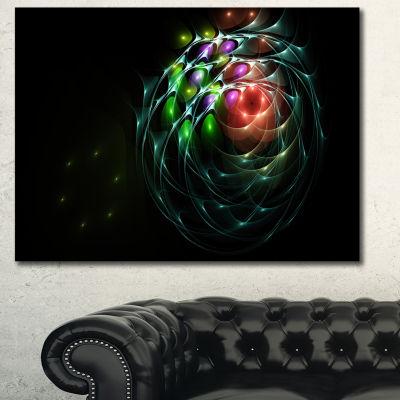 Designart Green 3D Surreal Fractal Design AbstractArt On Canvas - 3 Panels