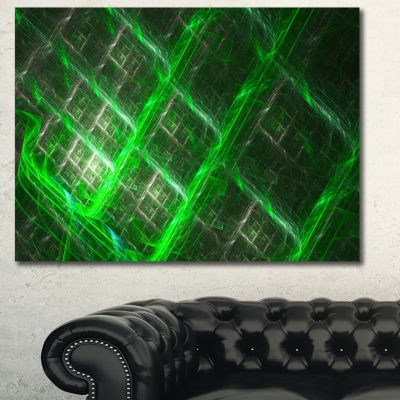Designart Green Abstract Metal Grill Abstract ArtOn Canvas - 3 Panels
