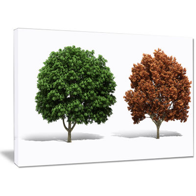 Designart Green And Red 3D Fractal Trees AbstractWall Art Canvas