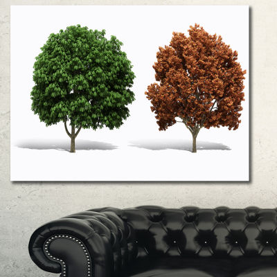 Designart Green And Red 3D Fractal Trees AbstractWall Art Canvas - 3 Panels
