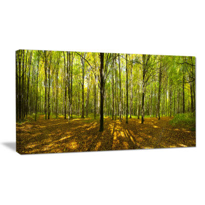 Designart Green Autumn Forest Panorama Landscape Canvas Art Print