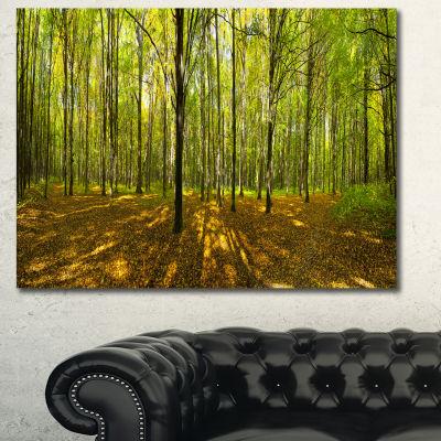 Designart Green Autumn Forest Panorama Landscape Canvas Art Print - 3 Panels