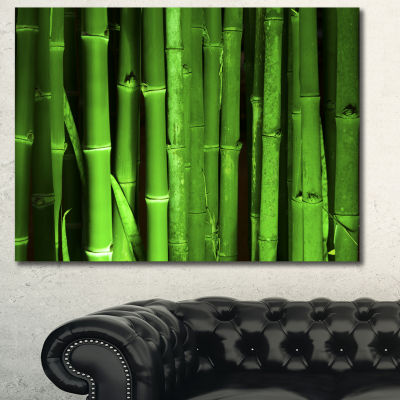 Designart Green Bamboo Forest Floral Canvas Art Print - 3 Panels