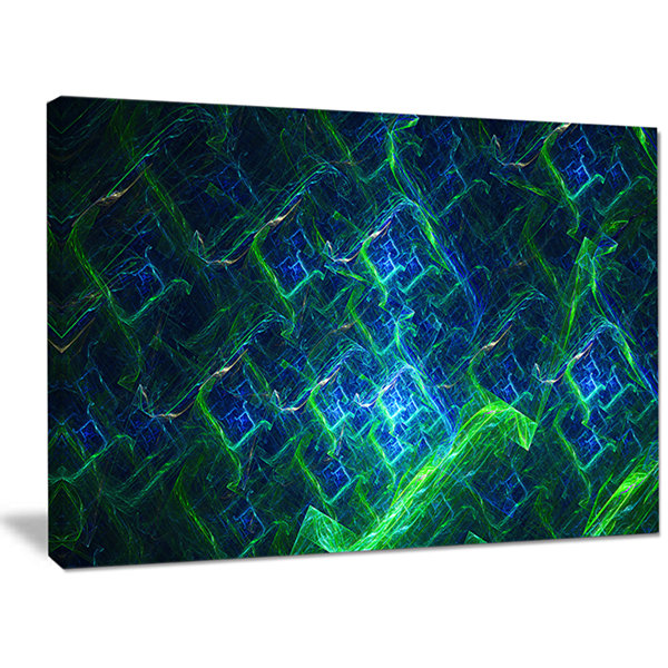 Designart Green Blue Electric Lightning Abstract Art On Canvas
