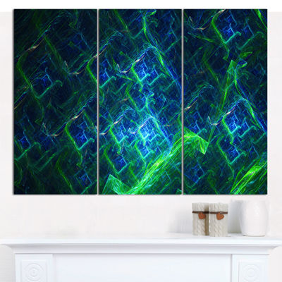 Designart Green Blue Electric Lightning Abstract Art On Canvas - 3 Panels