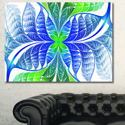 Designart Green Blue Fractal Glass Texture Abstract Canvas Art Print