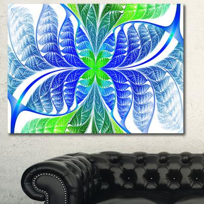 Designart Green Blue Fractal Glass Texture Abstract Canvas Art Print - 3 Panels