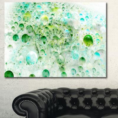 Designart Green Blue Fractal Molecules Abstract Wall Art Canvas - 3 Panels