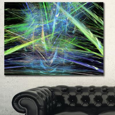 Designart Green Blue Magical Fractal Pattern Abstract Canvas Wall Art - 3 Panels