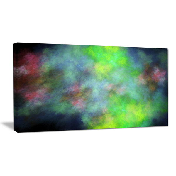 Designart Green Blue Sky With Stars Abstract Canvas Art Print
