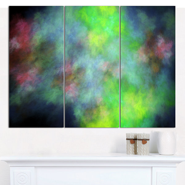 Designart Green Blue Sky With Stars Abstract Canvas Art Print - 3 Panels