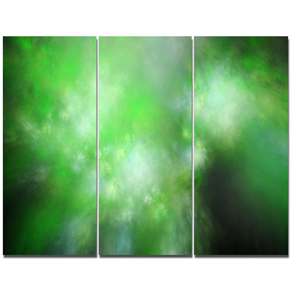 Designart Green Blur Sky With Stars Abstract Canvas Art Print - 3 Panels