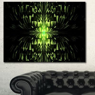 Designart Green Butterfly Pattern On Black Abstract Wall Art Canvas - 3 Panels
