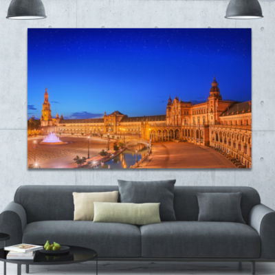 Designart View Of Spain Square At Sunset CityscapeWall Art Canvas