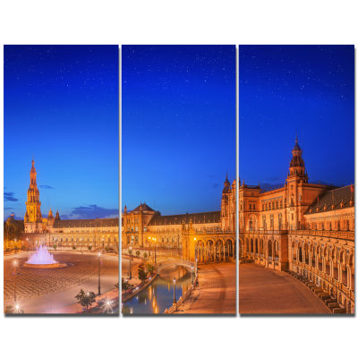 Designart View Of Spain Square At Sunset CityscapeWall Art Canvas - 3 Panels