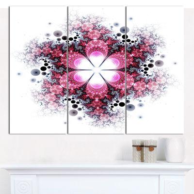 Designart Violet Fractal Flower Pattern Abstract Wall Art Canvas - 3 Panels