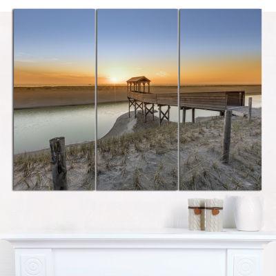 Designart Watchtower At North Sea Dunes LandscapeWall Art Canvas - 3 Panels