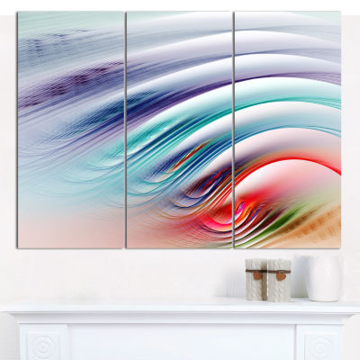 Designart Water Ripples Rainbow Waves Abstract Wall Art Canvas - 3 Panels