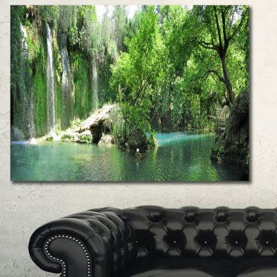 Designart Waterfall Cascade In Deep Forest Landscape Wall Art Canvas