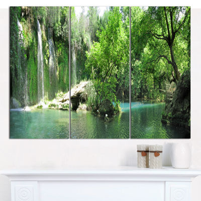 Designart Waterfall Cascade In Deep Forest Landscape Wall Art Canvas - 3 Panels