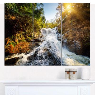 Designart Waterfall Through The Forest Landscape Wall Art Canvas - 3 Panels