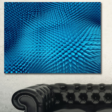 Designart Wavy Blue Prickly Design Abstract Wall Art Canvas