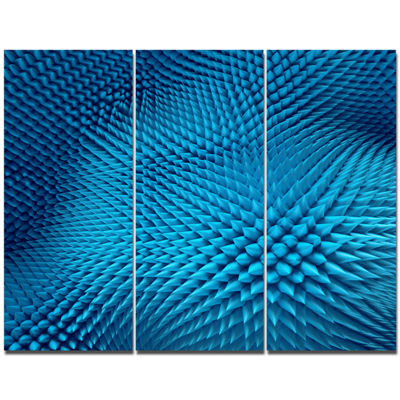 Designart Wavy Blue Prickly Design Abstract Wall Art Canvas - 3 Panels