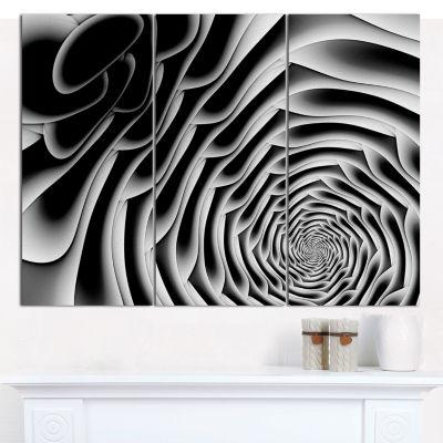 Designart White Flower Shaped Fractal Art AbstractWall Art Canvas - 3 Panels