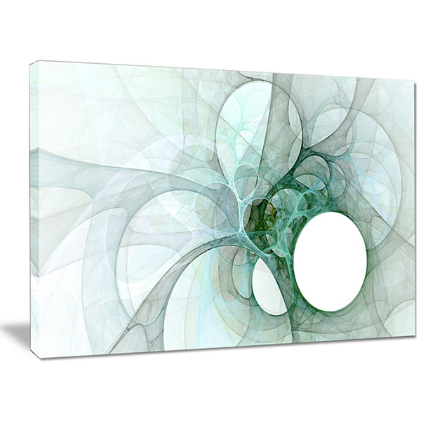 Designart White Fractal Angel Wings Abstract WallArt Canvas