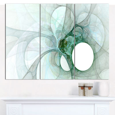 Designart White Fractal Angel Wings Abstract WallArt Canvas - 3 Panels