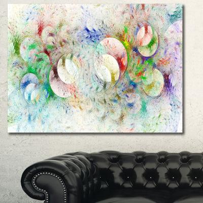Designart White Fractal Ornamental Glass AbstractWall Art Canvas