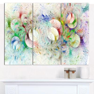 Designart White Fractal Ornamental Glass AbstractWall Art Canvas - 3 Panels