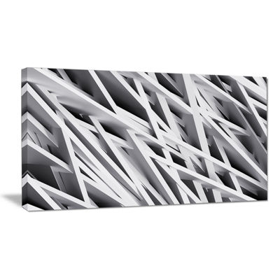 Designart White Geometric Abstract Wall Art Canvas