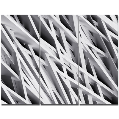 Designart White Geometric Abstract Wall Art Canvas- 3 Panels