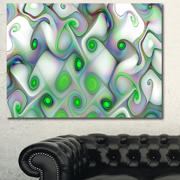 Designart White Green Pattern With Swirls AbstractWall Art Canvas