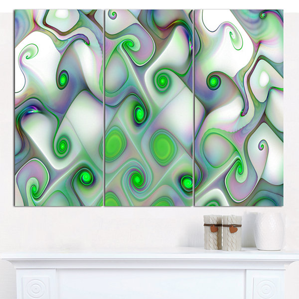 Designart White Green Pattern With Swirls AbstractWall Art Canvas - 3 Panels