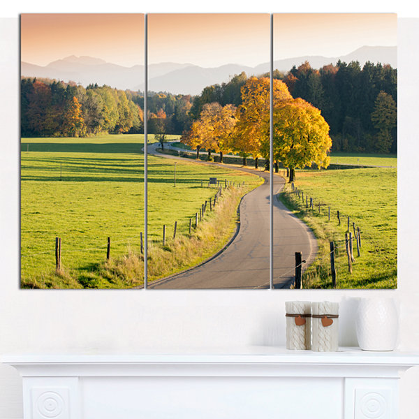 Designart Winding Country Road In The Fall Landscape Wall Art Canvas - 3 Panels