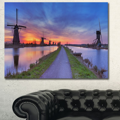 Designart Windmills Morning Panorama Abstract WallArt Canvas