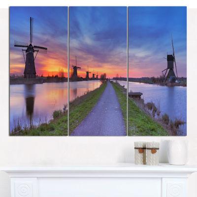 Designart Windmills Morning Panorama Abstract WallArt Canvas - 3 Panels