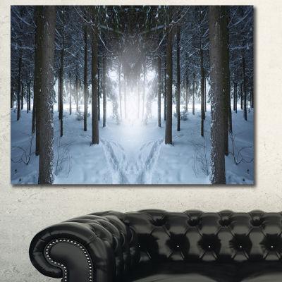 Designart Winter Forest With Dark Woods LandscapeWall Art Canvas