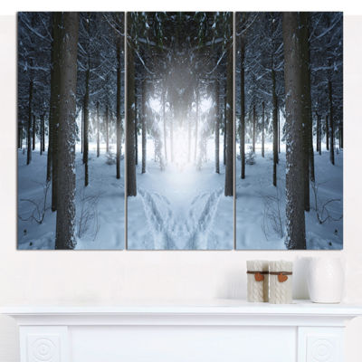 Designart Winter Forest With Dark Woods LandscapeWall Art Canvas - 3 Panels