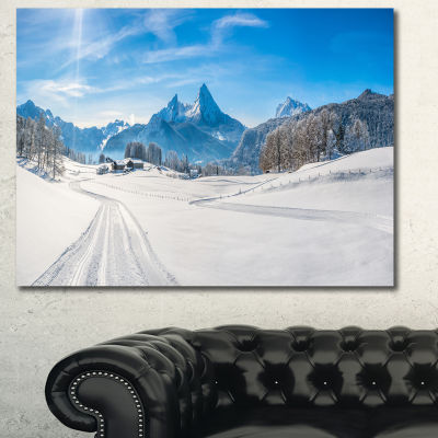 Designart Winter In Bavarian Alps Panorama Landscape Wall Art Canvas